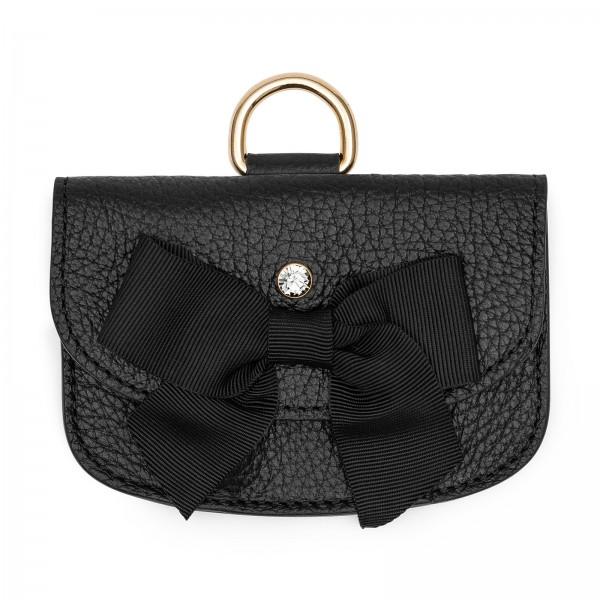 Schwarze Leder Geldbörse mit Ripsband und Black Diamond von Swarovski | LABEKA Kollektion Coco | Vorderseite