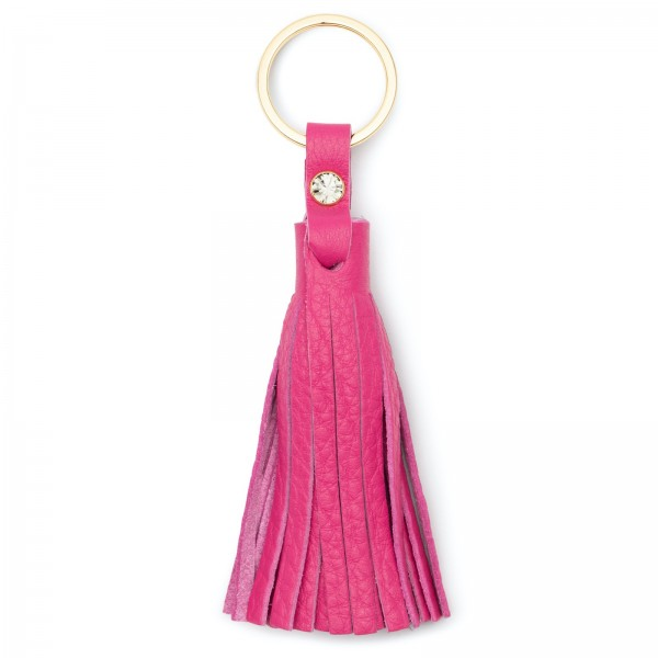 Pinkfarbene Leder Quaste mit Black Diamond von Swarovski und goldfarbenem Metallring | LABEKA Kollektion Pretty Pink