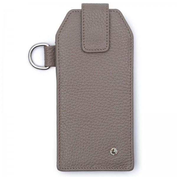Graphitfarbenes Leder Handy Etui mit silberfarbenen Metallteilen und Black Diamond von Swarovski | LABEKA Kollektion Kiesel | Vorderseite