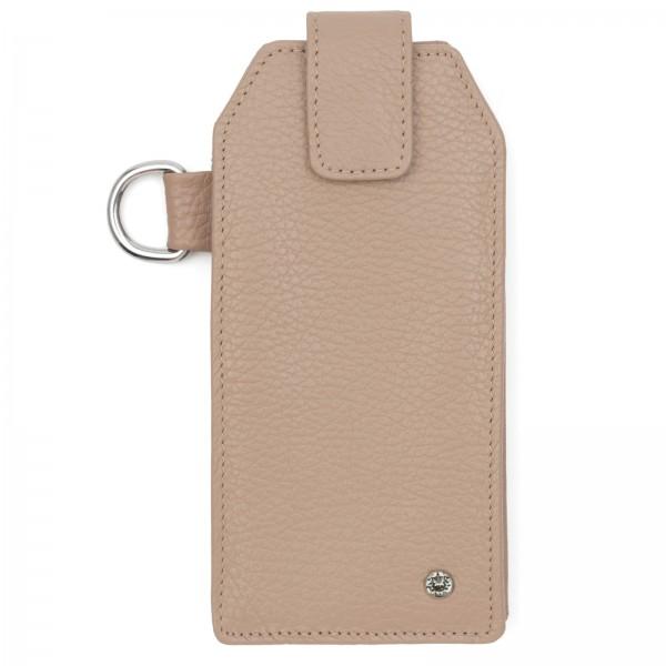 Kieselfarbenes Leder Handy Etui mit silberfarbenen Metallteilen und Black Diamond von Swarovski | LABEKA Kollektion Kiesel | Vorderseite