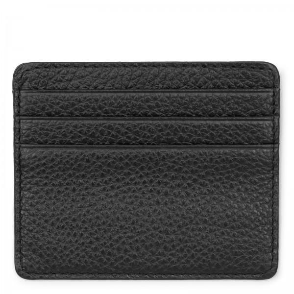 Schwarzes Leder Karten Etui | LABEKA Kollektion Only Black | Vorderseite