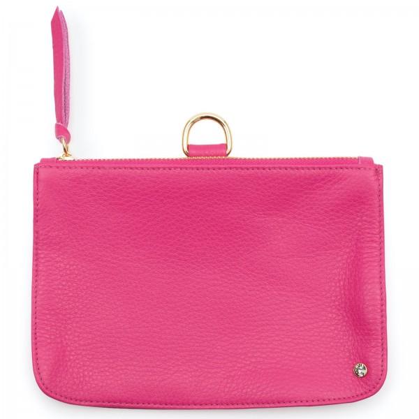 Pinkfarbene Leder Clutch mit Black Diamond von Swarovski und goldfarbenen Metallteilen | LABEKA Kollektion Pretty Pink | Vorderseite