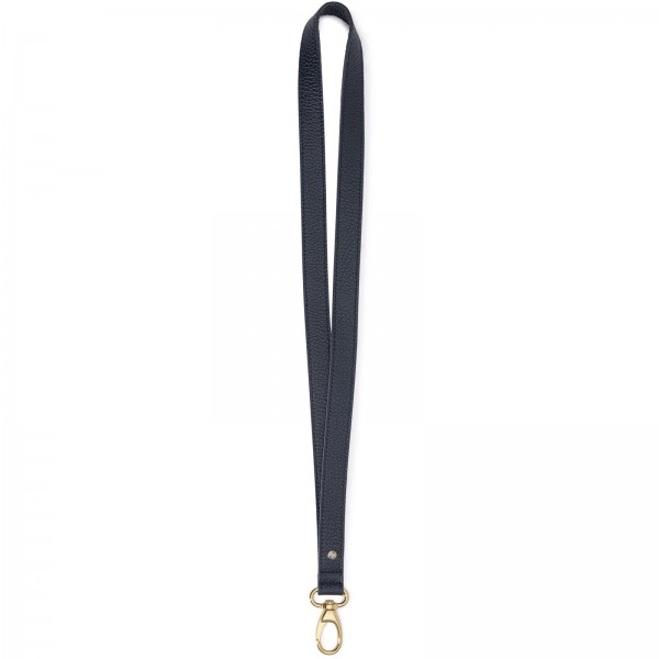 Blaues Leder Schlüsselband mit goldfarbenen Karabiner und Black Diamond von Swarovski | LABEKA Kollektion Marine