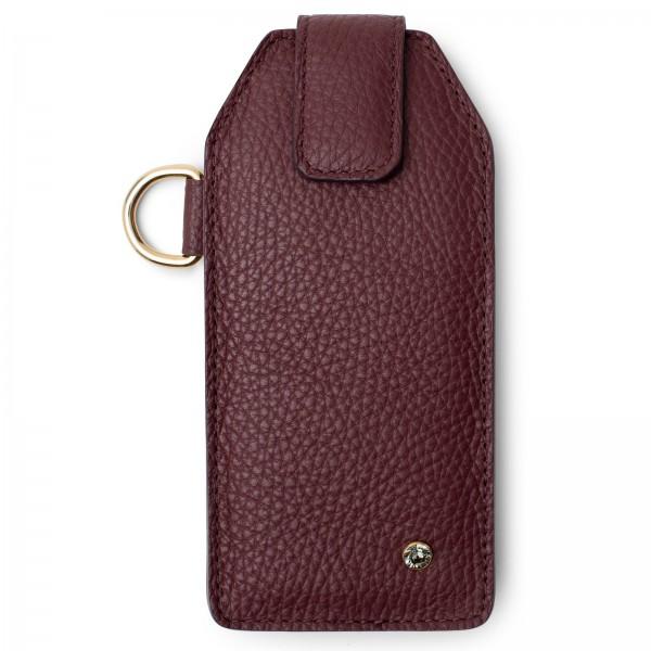 Bordeauxfarbenes Leder Handy Etui mit magnetverschließbaren Lasche, goldfarbenen Metallteilen und Black Diamond von Swarovski | LABEKA Kollektion Bordeaux