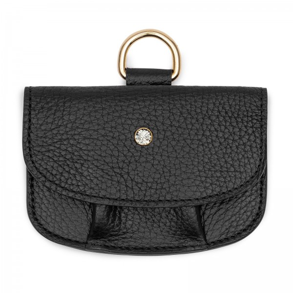 Schwarze Leder Geldbörse mit Black Diamond von Swarovski und goldenem Metallring | LABEKA Kollektion Only Black | Vorderseite