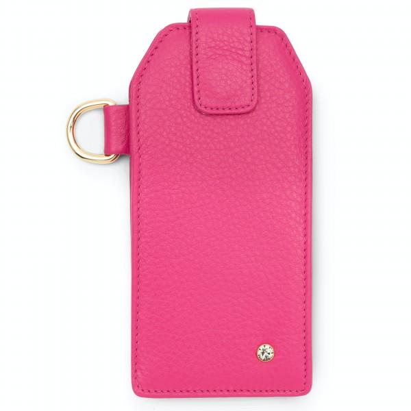 Pinkfarbenes Leder Handy Etui mit Black Diamond von Swarovski und goldfarbenen Metallteilen | LABEKA Kollektion Pretty Pink | Vorderseite
