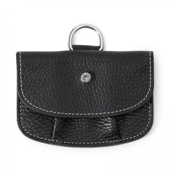 Schwarze Leder Geldbörse mit cremefarbenen Faden und Black Diamond von Swarovski | LABEKA Kollektion Onyx | Vorderseite