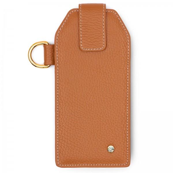 Cognacfarbenes Leder Handy Etui mit goldfarbenen Metallteilen und Black Diamond von Swarovski | LABEKA Kollektion Cognac | Vorderseite