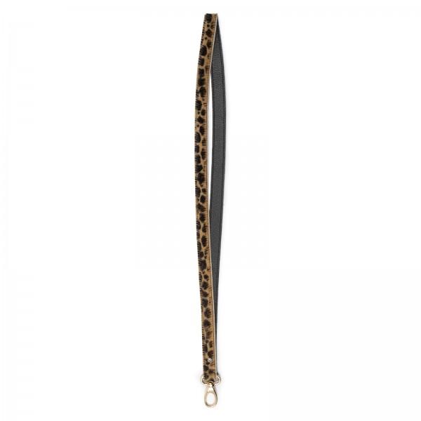 Animalprint Leder Schlüsselband mit schwarzer Innenseite und goldfarbenem Karabiner |LABEKA Kollektion Leo