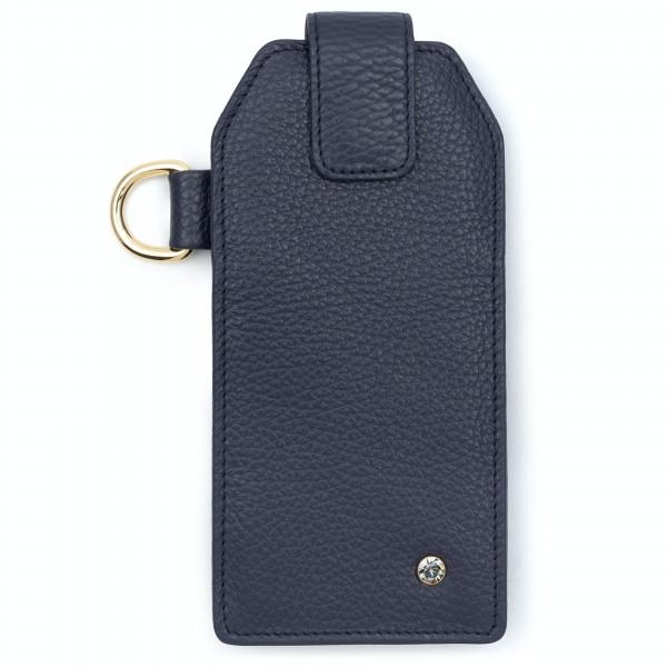 Dunkelblaues Leder Handy Etui mit Black Diamond von Swarovski und goldfarbenem Metallteilen | LABEKA Kollektion Navy Blue | Vorderseite