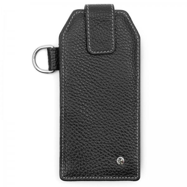 Schwarzes Leder Handy Etui mit cremefarbenem Faden und Black Diamond von Swarovski | LABEKA Kollektion Onyx | Vorderseite