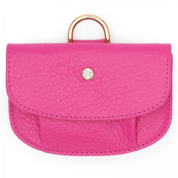 Pinkfarbene Leder Geldbörse mit Black Diamond von Swarovski und goldfarbenen Metallteilen | LABEKA Kollektion Pretty Pink | Vorderseite