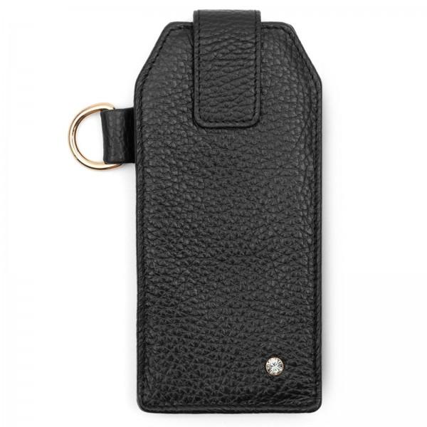 Schwarzes Leder Handy Etui mit goldfarbenen Metallteilen und Black Diamond von Swarovski | LABEKA Kollektion Coco | Vorderseite