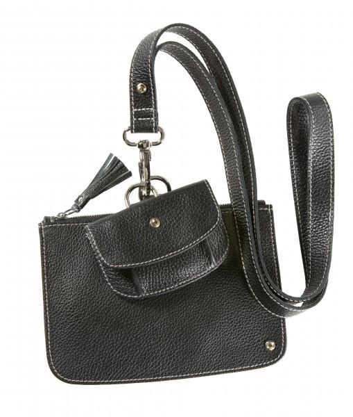 Schwarzes Schlüsselband Set mit cremefarbenem Faden mit Clutch und Geldtäschchen | LABEKA Kollektion Onyx