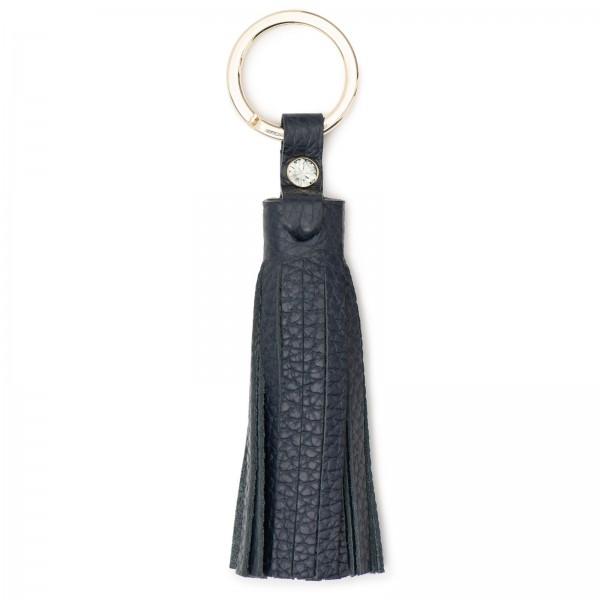 Blaue Leder Schlüsselquaste mit goldfarbenen Metallring und Black Diamond von Swarovski | LABEKA Kollektion Marine